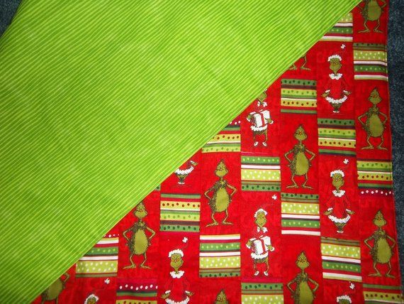Quilted Grinch Tree Skirt, Square style with green stripe back 38