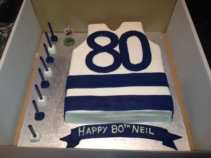Gluten & egg free layered mud cake. Geelong Cats AFL theme for Grandads 80th birthday