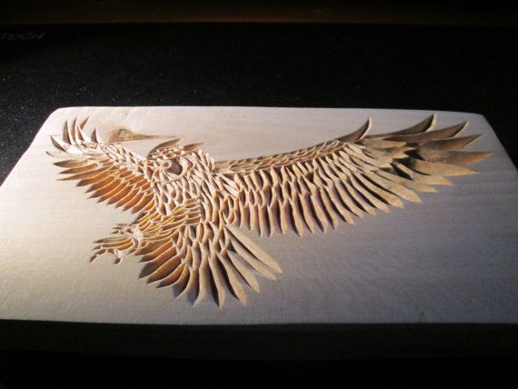 Wooden hand carved owl  chip carving wood carving by halfron