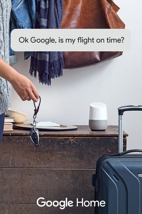 Google Home, a voice-activated speaker, is your new travel assistant. Get weather reports, flight info, commute updates, and much more - all without lifting a finger. It's your own Google, always ready to help.
