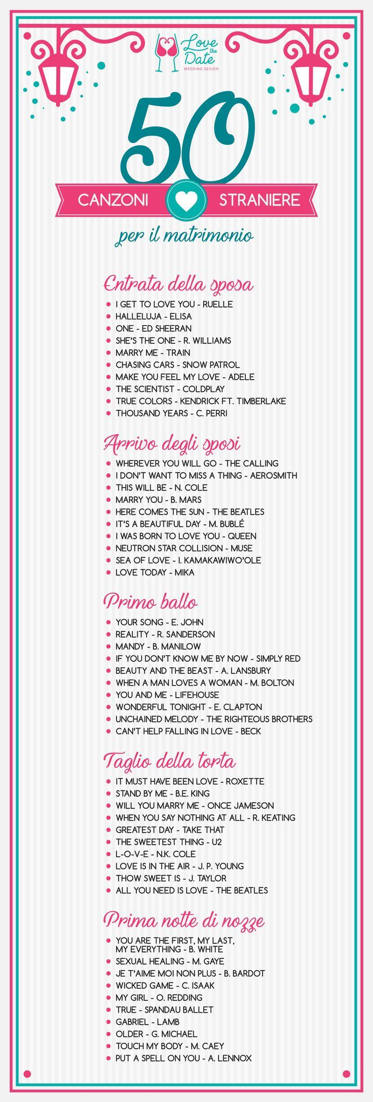 Lista di 50 canzoni d'amore straniere per il matrimonio - entrata della sposa, arrivo degli sposi, primo ballo, taglio della torta, prima notte di nozze