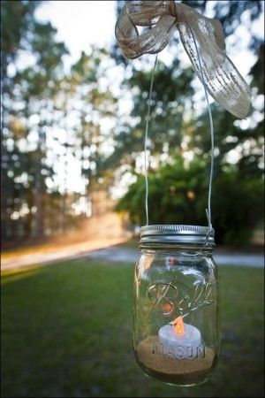 hanging Mason jar candle holders...would look great in trees