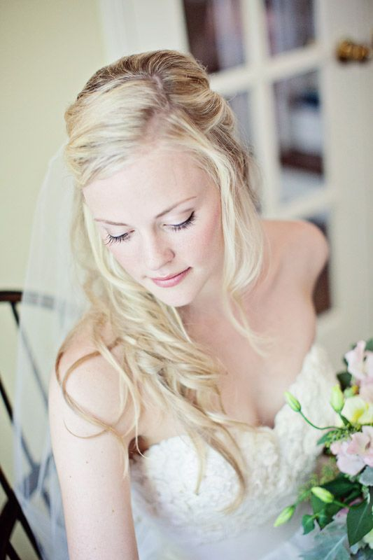 Bride Melissa hair by Claudine and make up by Wendy at Civello Oakville & flowers by Fiori on Lakeshore
