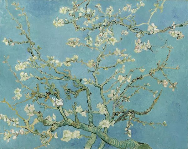 """Almond Blossom,"" by Van Gogh, 1890, oil on canvas, 73.3 cm x 92.4 cm. Collection of Van Gogh Museum, Amsterdam (Vincent van Gogh Foundation). Van Gogh Museum: ""Van Gogh borrowed the subject, the bold outlines and the positioning of the tree in the picture plane from Japanese printmaking."""