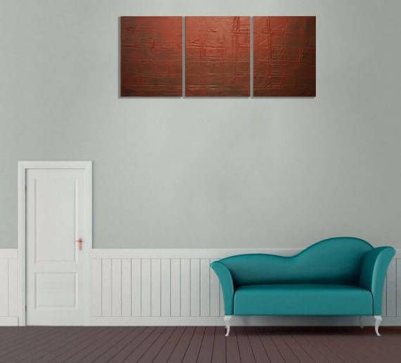 LARGE WALL ART triptych 3 panel wall brown art Earth