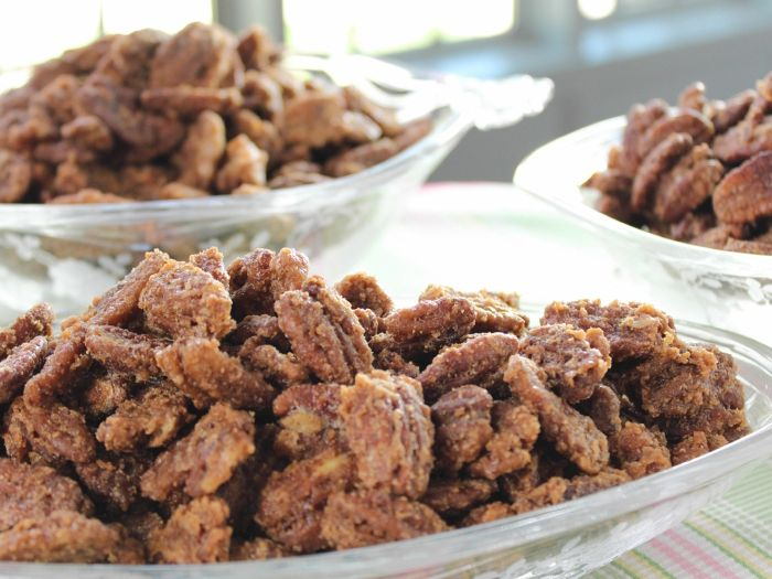 Jerry's Sugared Pecans from FoodNetwork.com - THESE ARE SO DELICIOUS AND SO ADDICTING. Just be sure that you really mix them every 10 minutes like the recipe says because they'll burn quickly if you don't. You have to try these! Make them! It's so easy and you won't regret it. - Becky