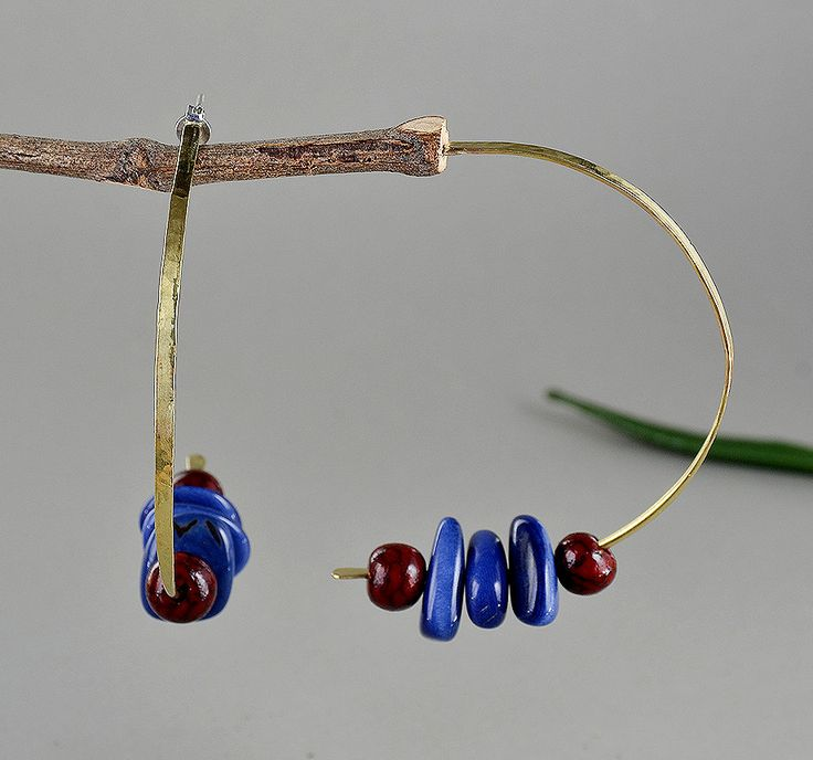 Beaded gold hoops, large thin hoops, navy tagua earrings, stud big hoops, garnet earrings, present for her, women gift under 25, carved nuts by ColorLatinoJewelry on Etsy