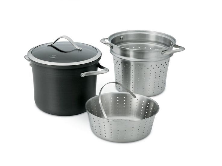 Dishwasher safe for easy cleanup, the Calphalon Contemporary Nonstick 8-qt. Multi-Pot set includes a stock pot, pasta insert, steamer basket, and cover.
