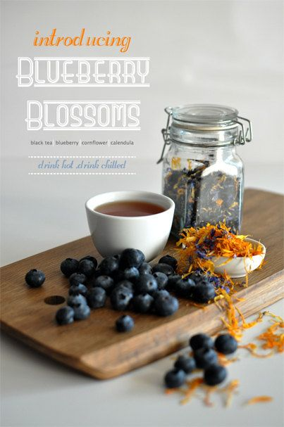 Blueberry Blossom Flavored Black Tea; A black tea blend with notes of fragrant blueberry and nutty almond coupled with a natural sweetness calendula. Best enjoyed with a lemon meringue tart or pancakes with berries. By KettleTown on Etsy, $10.00