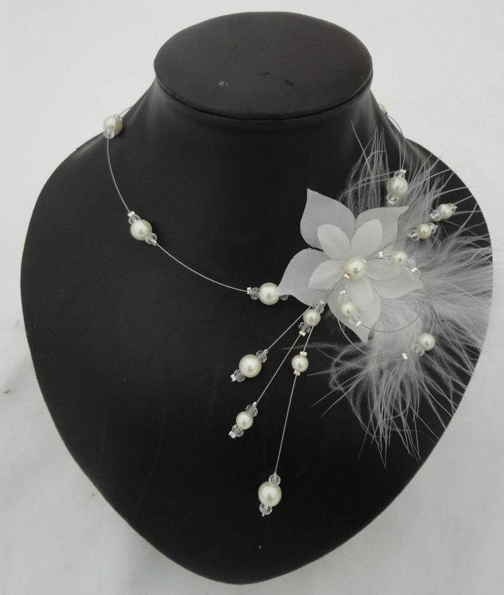 collier mariée mariage soirée perles et fleur de soie ivoire crystal