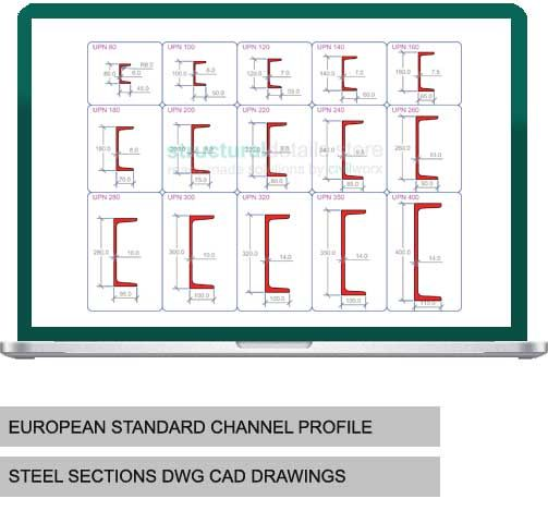 European Standard Channel Upn Steel Sections Dwg Cad