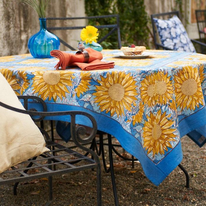 Sunflower Yellow/Blue Tablecloth  French Linen Tablecloth By Bruno Lamy