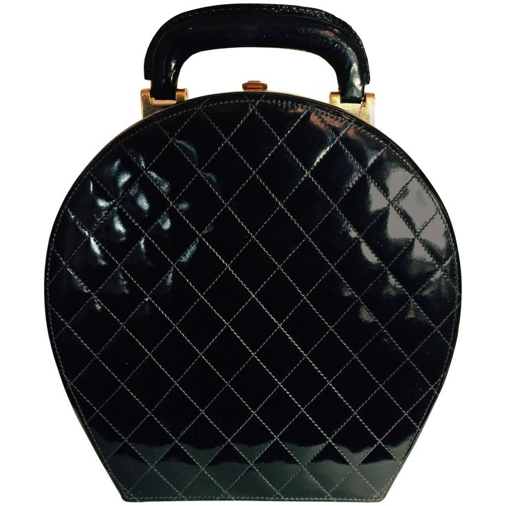 1980's CHANEL Patent Leather Quilted Bowling Bag style Purse Specialty Handbag | From a collection of rare vintage novelty bags at https://www.1stdibs.com/fashion/handbags-purses-bags/novelty-bags/