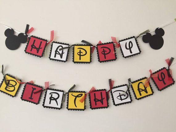 Mickey Mouse Happy Birthday Banner  Disney by HoneygoDesigns