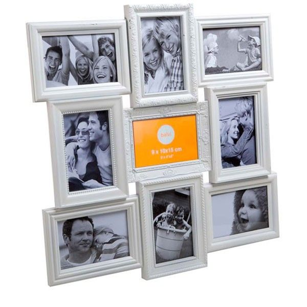 White - Add this beautiful white multi aperture photo display to any wall for instant style! The Magic 9 Multiple Photo Frame is best displayed, with bright, colourful photographs and makes a unique gift for those who love to display their snaps! See below for this frame in more colours! Magic 9 Multiple Photo Frame - White Specifications  Material: Plastic, glass Dimensions:                Overall: 52.5 x 52.5 x 2cm Holds nine 4x6' (10 x 15cm) photos   Design: Bal