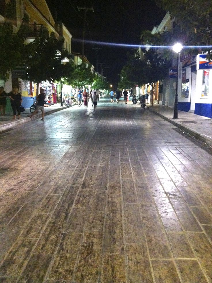 walking the late evening streets of downtown Samos, Pythagorion