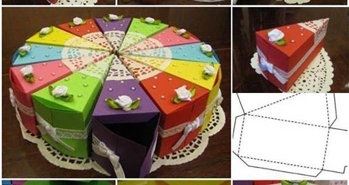 Aký kreatívny nápad vytvoriť darčekové krabičky v tvare torty! Môžete ich naplniť drobnými darčekmi ako sú cukríky, čokolády, písacie potreby, hračky, pohľanice a dokonca aj peniaze. Je to skvelé, ak chcete obdarovať naraz celú rodinu.