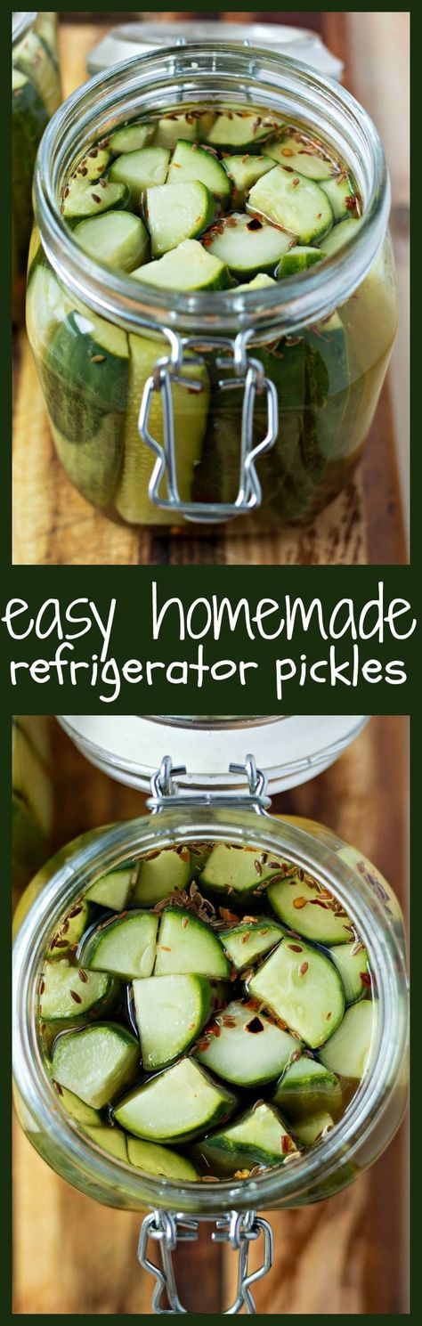 Easy Homemade Refrigerator Pickles - A super-easy recipe for homemade pickles that cure right in your fridge so there's no need to preserve them in jars. Ready in just a day or two, these classic dill pickles are made with garlic and dill and will be a we