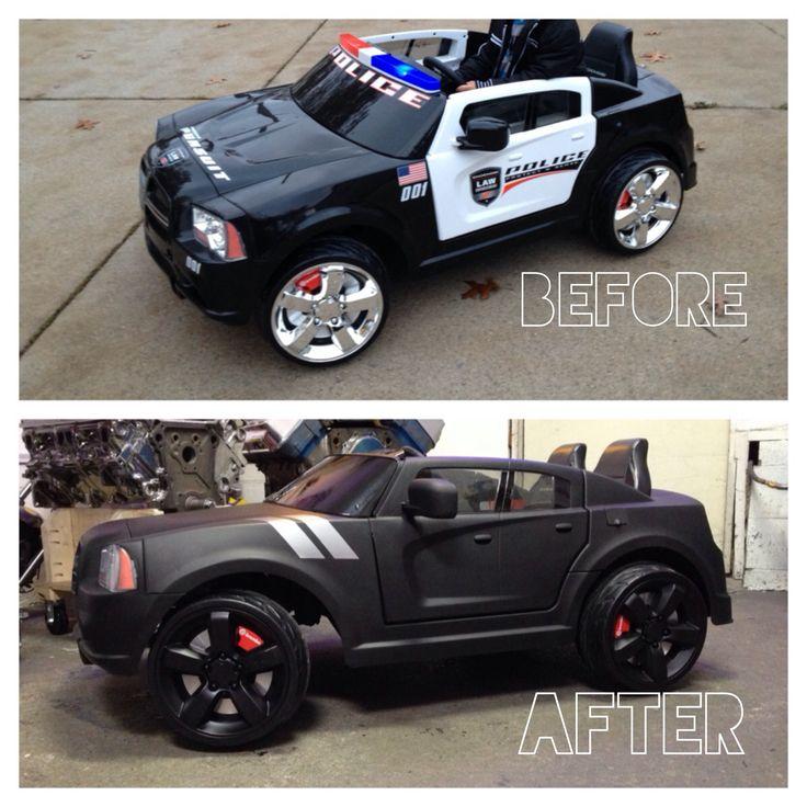 overhauled my sons powerwheels dodge charger police car into an all black beast gabrielsgraphics power wheelsdodge chargerskool kidscutest