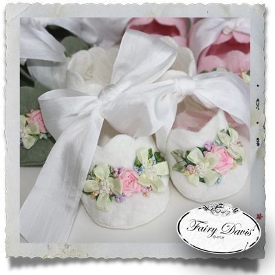 Felt Baby Booties with Silk Ribbon Embroidery