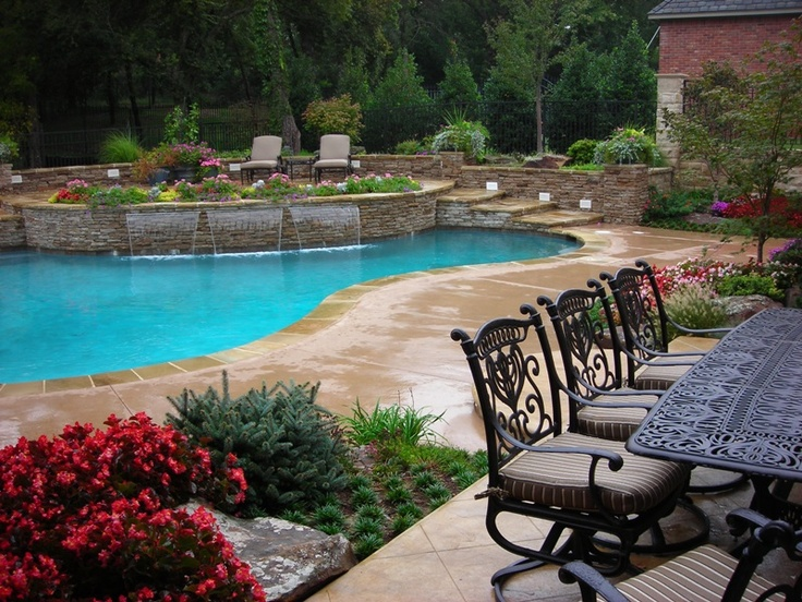 pool, patio...love all the landscaping around the pool making it private
