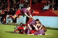 Steve Conner jumps onto a pile of celebrating players after Tony Rogers scores a late goal to win the game for Dagenham - Dagenham & Redbridge vs Ashton United - FA Challenge Trophy Quarter-Final at Victoria Road - 22/03/97 - MANDATORY CREDIT: Gavin Ellis/TGSPHOTO - Self billing applies where appropriate - 0845 094 6026 - contact@tgsphoto.co.uk - NO UNPAID USE..