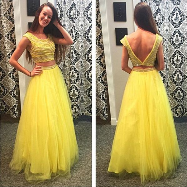Long Yellow 2 Piece Prom Dresses Puffy Beaded Scoop Neck Low Cut V-back Vestido De Formatura