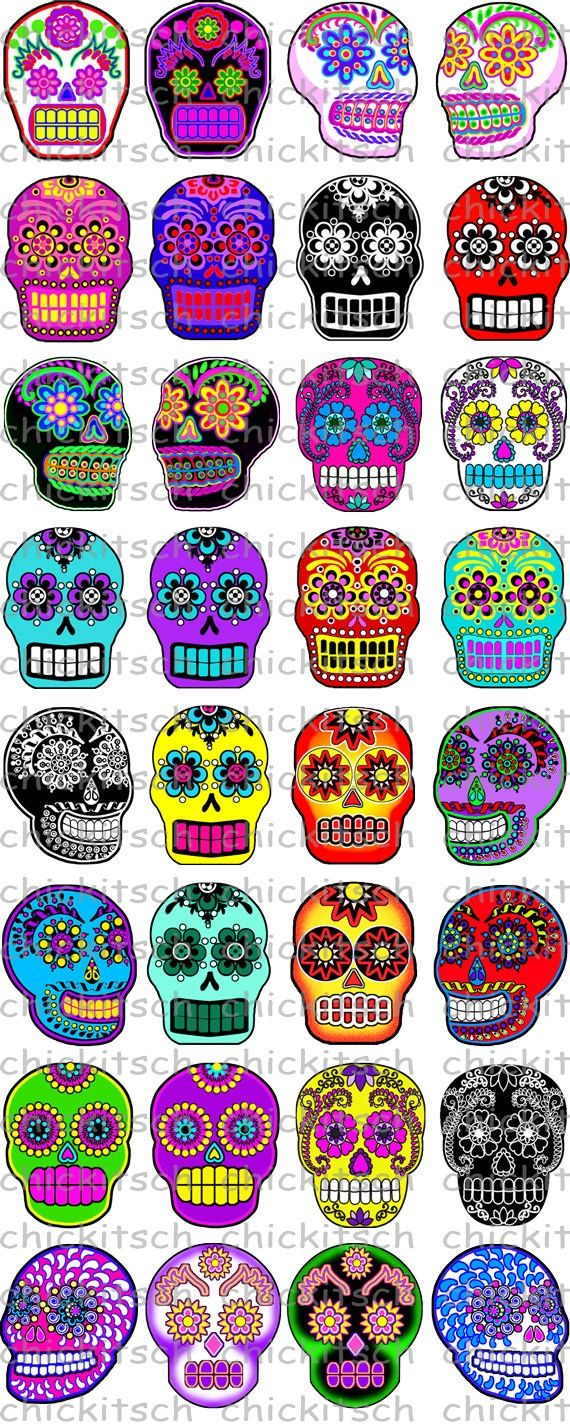Bright Sugar Skull Digital Pictures to use with by ChicKitsch, $1.75