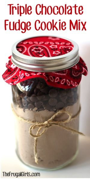 Triple Chocolate Fudge Cookie Mix in a Jar! ~ from TheFrugalGirls.com ~ the perfect gift for your favorite Choc-O-Holic... it makes AMAZING cookies!! #masonjars #thefrugalgirls