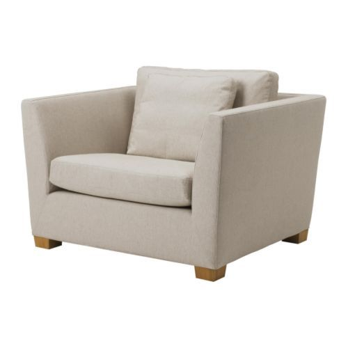 Cheaper alternate version of the restoration hardware shelter hall arm chair - IKEA STOCKHOLM 1.5-seat armchair, Gammelbo light brown $649.00