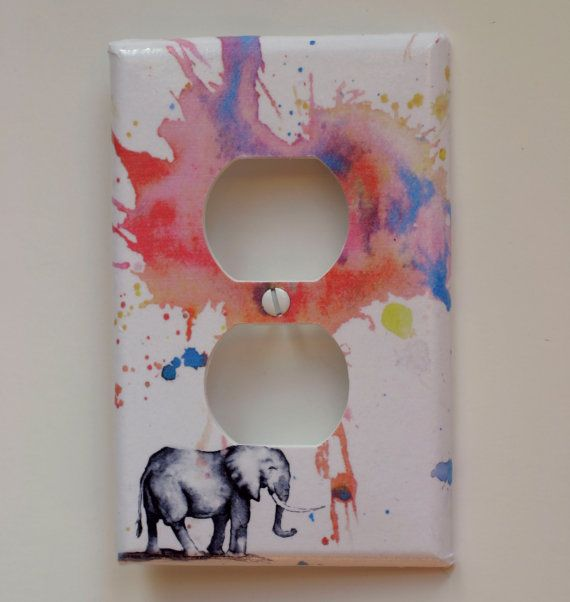elephant decorative outlet light switch cover plate great room decor for kids and baby nursery decor - Decorative Outlet Covers
