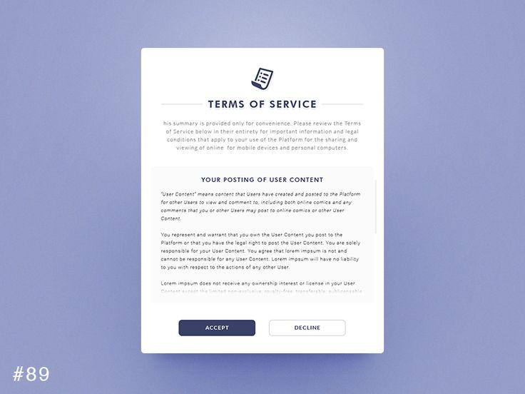 DailyUI design - Terms of Service