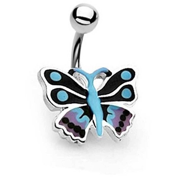 Bling Jewelry Butterfly Belly Ring Body Jewelry ($9.99) ❤ liked on Polyvore featuring jewelry, belly rings, body jewelry, earrings, piercings, blue, body-piercing-rings, steel jewelry, belly button rings jewelry and steel body jewellery