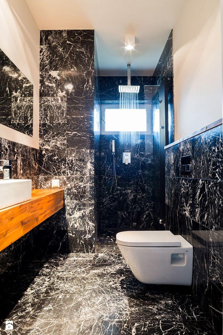 DOM KOBYLANKA - Łazienka, styl nowoczesny - zdjęcie od ANNA THUROW Architektura Wnętrz bath room | small | ideas | black | marble | modern