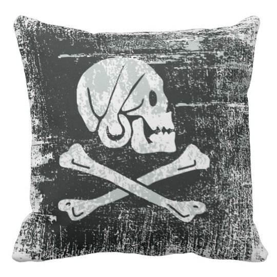 Grunged pirate henry flag throw pillow
