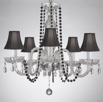 Amazon.com: CRYSTAL CHANDELIER CHANDELIERS LIGHTING WITH BLACK COLOR  CRYSTAL AND SHADES!: