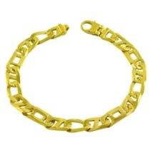 18 Karat Gold over Sterling Silver Men's Fancy Mariner Link Bracelet (8.5 Inch)