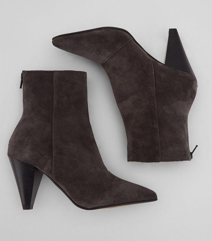 Premium Suede Cone Heel Ankle Boots