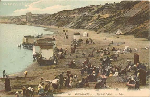 antique seaside picture | An Edwardian picture postcard of Boscombe Sands. Note…