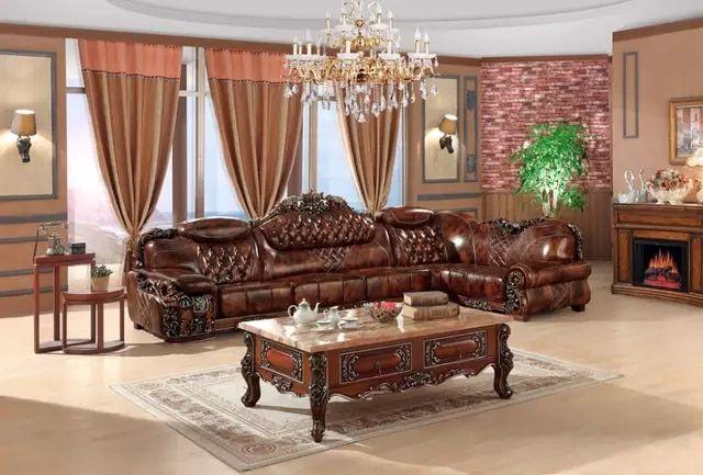 European Leather Sofa Set Living Room Sofa China Wooden Frame L