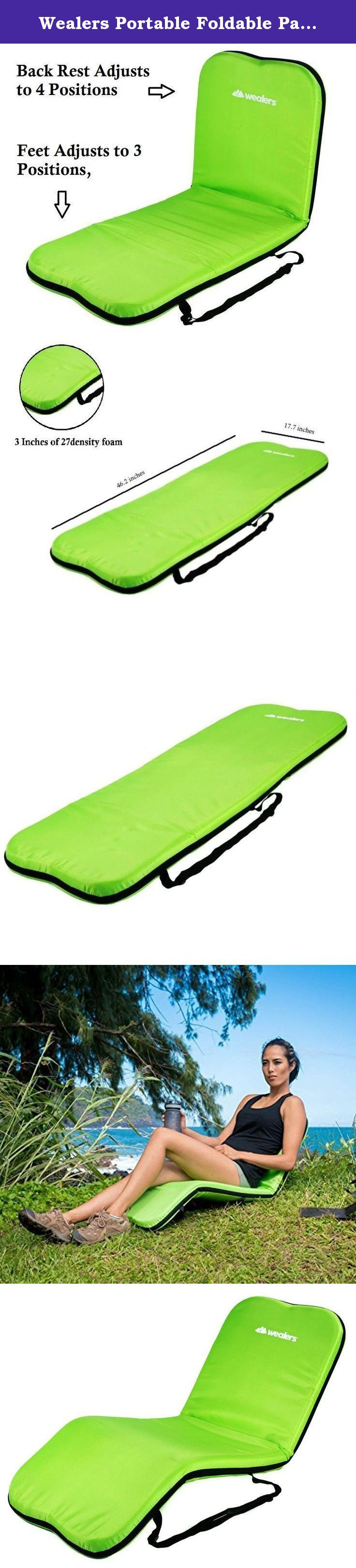 Wealers Portable Foldable Padded Recliner Seat Mat, for Camping or a Beach Mat, with Adjustable Reclining Positions for Feet and Back, 100% Water Proof, (Green). Number 1 best beach chair mat, can be used as a chair and as a mat, Cushioned seat 27 density foam, Adjustable Reclining Positions for Feet and Back, back rest adjusts to 4 positions, feet adjusts to 3 different Positions, Material:steel tube(19*1.0MM),27density foam Cover Material:420 polyester, 100% water proof, Lightweight and...