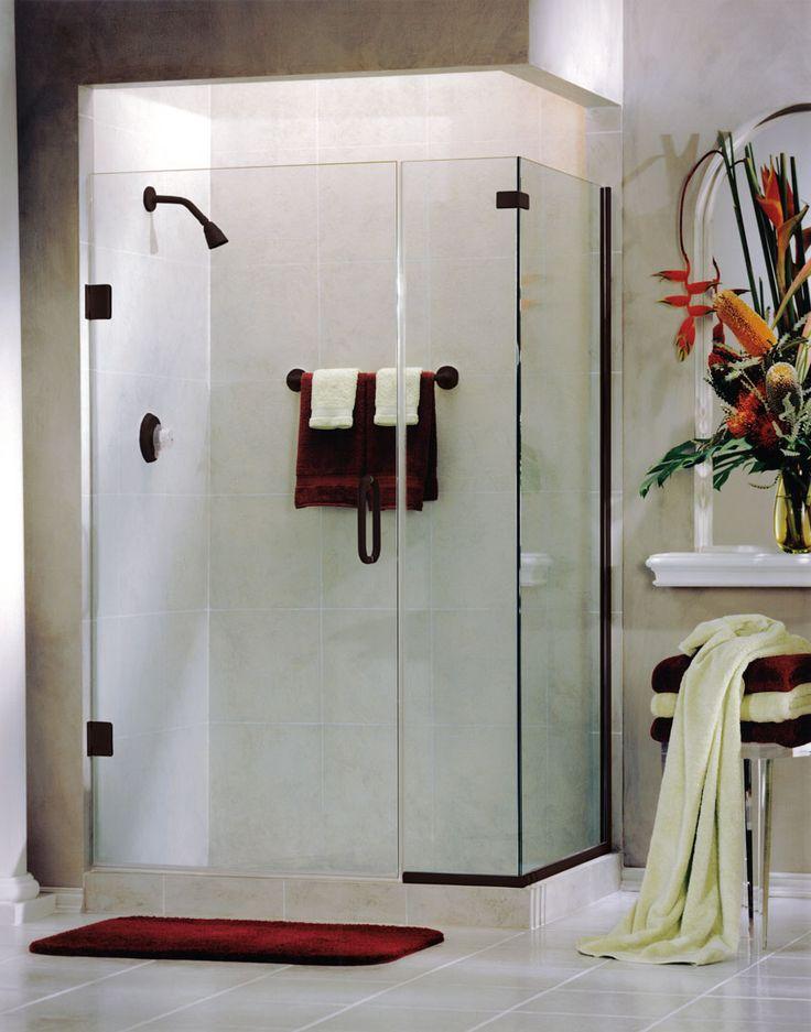 binswanger glass frameless swing shower door with return sidelite oil rubbed bronze finish
