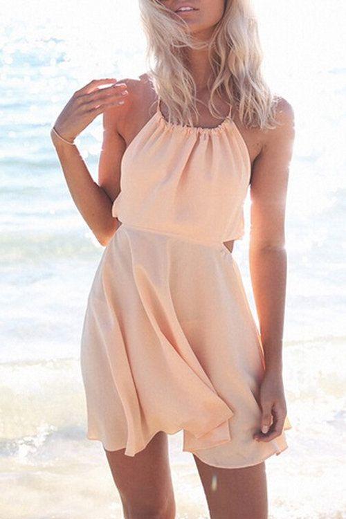 Tie Halter Open Back Mini Dress - US$13.95 -YOINS