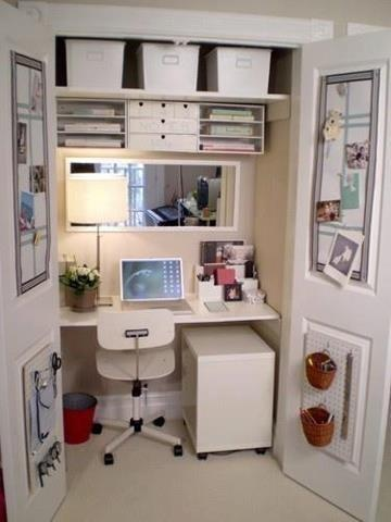 Office in a Closet - Don't forget outlet!!! Upper shelves, rolling filing cabinet, use inside of doors and side walls