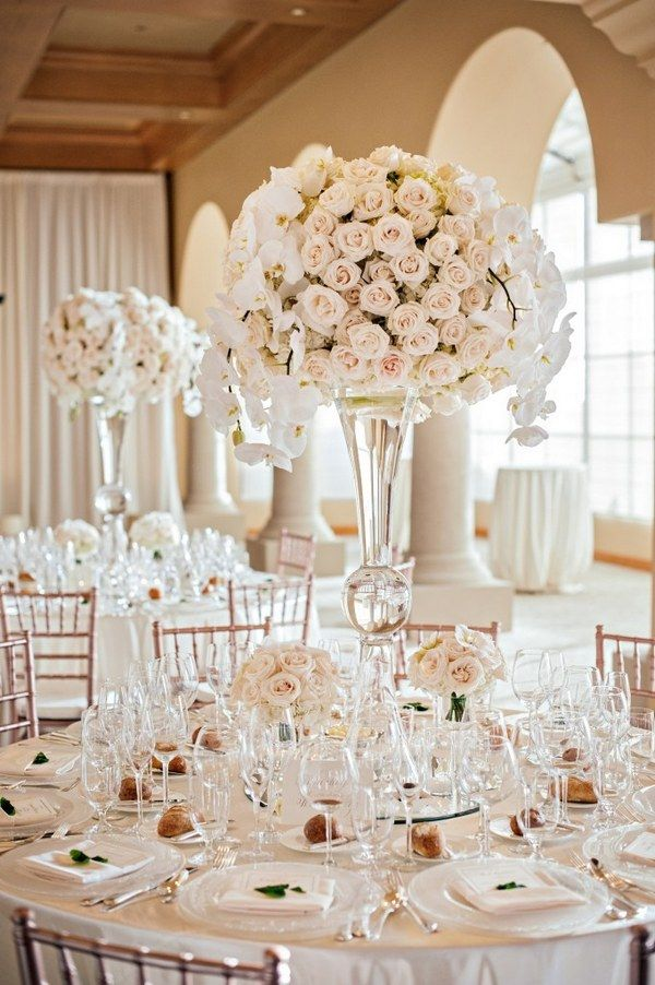 tall blush wedding centerpiece / http://www.deerpearlflowers.com/top-5-romantic-fairytale-wedding-theme-ideas/2/