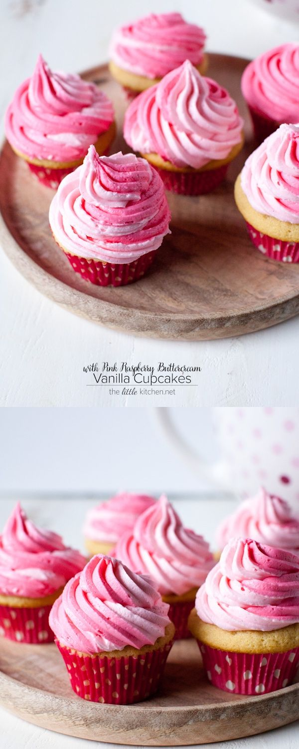 Vanilla Cupcakes with Pink Raspberry Buttercream from thelittlekitchen.net