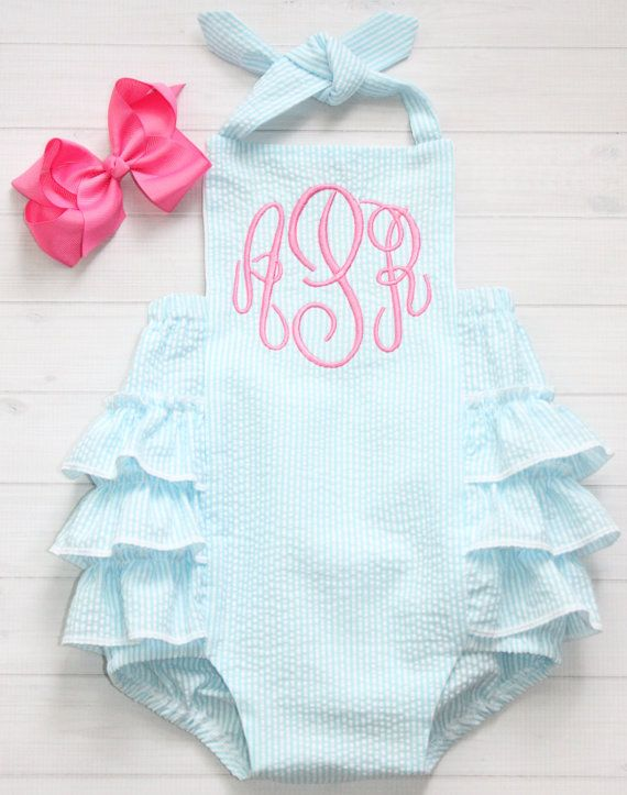 Aqua Seersucker Bubble with Pink Monogram by EllieHandmades