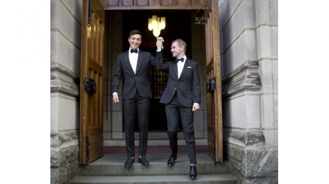 November 2, 2013: West Point graduate Larry Lennox-Choate, left, and Daniel Lennox-Choate, leave church following their wedding ceremony on Saturday, Nov. 2, 2013, at the U.S. Military Academy's Cadet Chapel in West Point, N.Y. Choate and Lennox are the first men to wed at the chapel since New York legalized gay marriage in 2012. - Read more: http://www.foxnews.com/us/2013/11/03/west-point-hosts-its-first-ever-wedding-between-2-men/