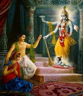 Lord Krishna appearing in prison to His 'parents,' Vasudeva and Devaki