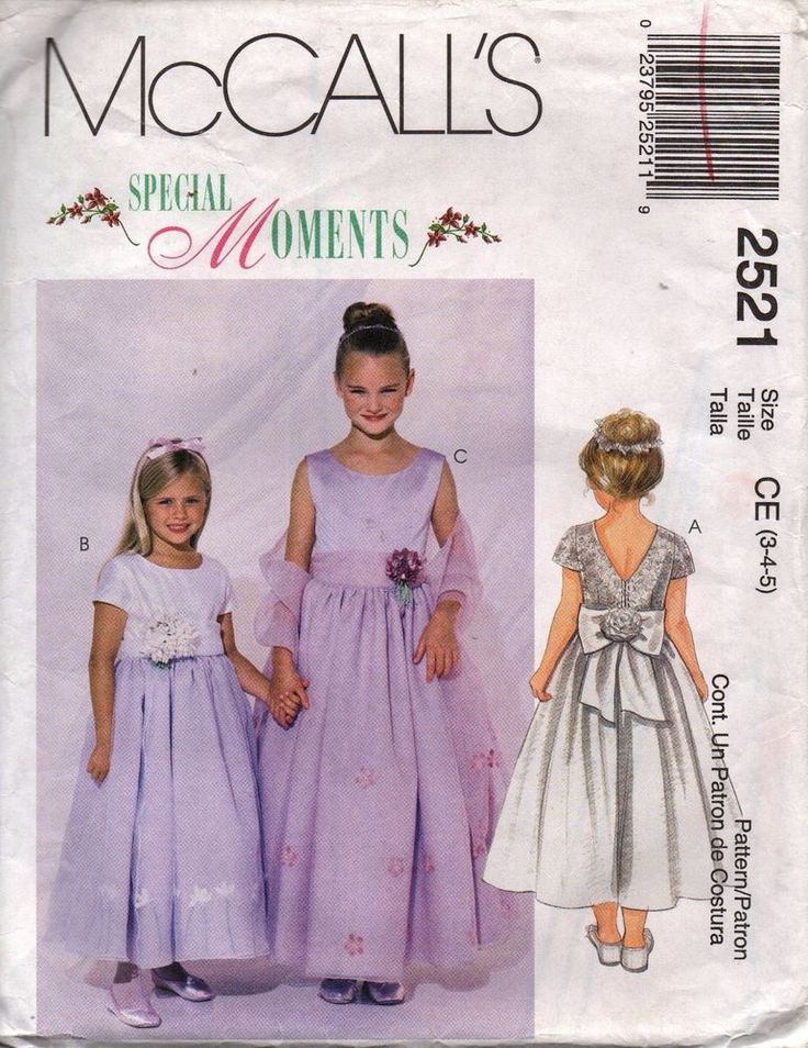 McCall's Pattern 2521 Flower Girl Special Occasion Dress with Stole SZ 3-4-5 UC #McCalls